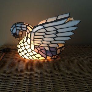 Stained Glass Swan Lamp